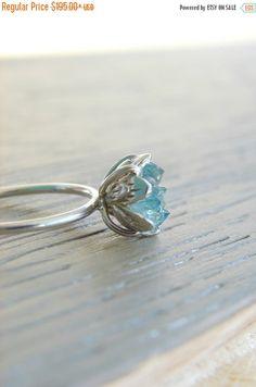 RAW Crystal Ring Aqua Aura & Herkimer diamantring door Gemologies