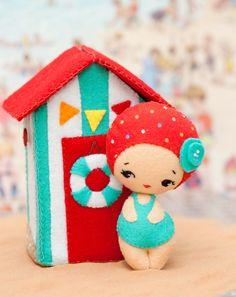 PDF. Beach house with doll. Plush Doll Pattern, Softie Pattern, Soft felt Toy…
