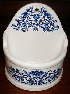 Vintage 1974 Salt Box Pottery Wall Pocket Cobalt Blue Onion Signed Merle Norman | eBay