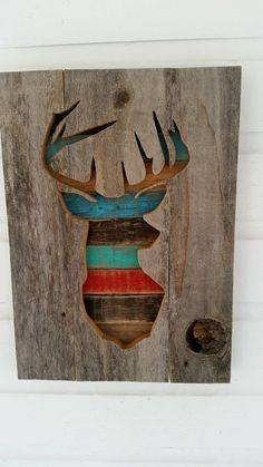 Rustic Pallet/Cedar Wood Deer Silhouette Sign by dontthrowthataway Arte Pallet, Pallet Art, Pallet Crafts, Wood Crafts, Barn Wood, Rustic Wood, Wood Projects, Woodworking Projects, Deer Silhouette