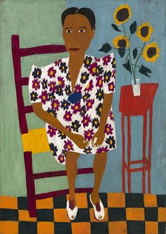 Portrait with Sunflowers by William H. Johnson / American Art William H Johnson, Henry Johnson, African American Artist, American Artists, Black Panthers, Harlem Renaissance Artists, Francis Picabia, Naive Art, Outsider Art