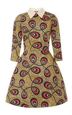 Nilde Printed Waxed-Cotton Mini Dress by Stella Jean Now Available on Moda Operandi ~Latest African Fashion, African women dresses, African Prints, African clothing jackets, skirts, short dresses, African men's fashion, children's fashion, African bags, African shoes ~DK