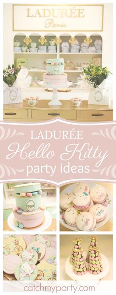 Swoon over this beautiful vintage Ladurée's Hello Kitty birthday party! The birthday cake is amazing!! See more party ideas and share yours at CatchMyParty.com