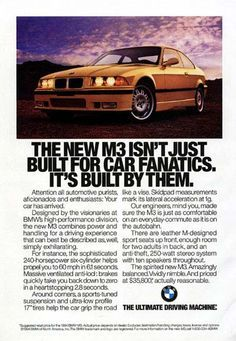 Vintage M3 Ad #bmwofmurray #M3 #vintage #classic #luxury #power