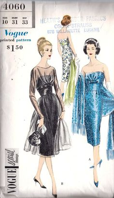 Vogue 4060 - 1950s Slim Strapless Cocktail Dress with chiffon over satin or brocade Vintage Vogue Patterns, Vintage Designs, Retro Outfits, Vintage Outfits, Vintage Fashion, Vintage Dresses, Vintage Clothing, Chiffon, Satin