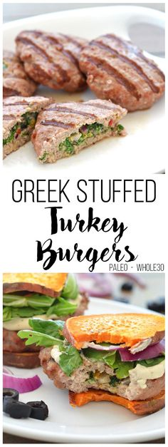 These Greek Stuffed Turkey Burgers are Paleo compliant and packed with greek flavor! Sweet Potato Toast for buns makes this a low card option! These Greek Stuffed Paleo Whole 30, Whole 30 Recipes, Real Food Recipes, Cooking Recipes, Healthy Recipes, Grilling Recipes, Free Recipes, Coleslaw, Paleo Dinner