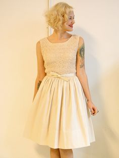 1950s vintage // ivory L'Aiglon party dress // by dethrosevintage, $102.00
