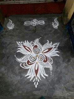 Rangoli Side Designs, Rangoli Designs Latest, Rangoli Borders, Free Hand Rangoli Design, Small Rangoli Design, Rangoli Ideas, Rangoli Designs With Dots, Rangoli Designs Images, Kolam Rangoli