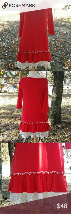 New Listing ⌛ Adorable Dress This would make a great Christmas Dress! Bright red dress 3/4 sleeves with crochet at the bottom. Two hidden pockets. I could only find one left. Boutique  Dresses