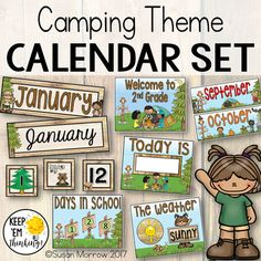 "This Camping Theme Calendar Set has everything you need for a Camping or Forest Theme Classroom Calendar board. Many of the items are editable! Check out the preview to see what is included. Take your calendar board to new heights with all the little extras included in this set: • 12 month cards 10"" by 3.5"" in both primary and cursive fonts - editable! • Days of the week cards 2 sizes and styles - 8"" by 2.5"", 1.5"" by 3.5"" - editable! • Year"