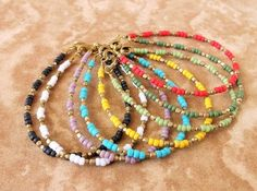 Tendance Bracelet Perles 2017/ 2018 Description Boho Jewelry Dainty Seed Bead Bracelet – Color of Your Choice – Bohemian Jewelry Ethnic Jewelry Tribal Jewelry – Simple Stackable Bracelet via Etsy