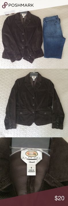 Talbots Brown Corduroy Jacket This Talbots Brown Corduroy Jacket is perfect for fall! The material is 98% cotton and 2% spandex. Talbots Jackets & Coats