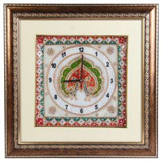 Marble Clock with Peacock Painting and Wooden Frame (Offer Price: Rs 2320 , Offered Discount: 9%) ** BUY NOW ** [MRP: Rs 2549]