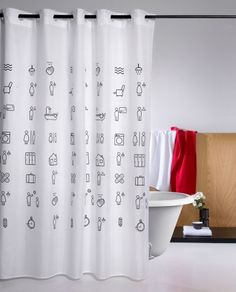 Shower curtain Icons black and white for an unique bathroom. Interiors Online, Interior Decorating, Interior Design, Curtains, Black And White, Bathroom, Icons, Info, Html