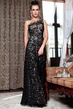 Elegante Vestido de Noche Prom Un Hombro con Flores (Envío Gratuito)