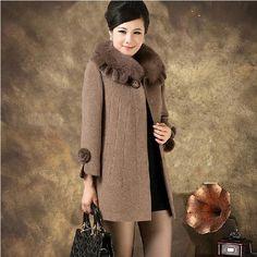 winter women's wool coat middle-age women fur collar cashmere medium-long woolen outerwear plus size 5XL #Affiliate