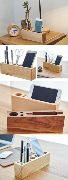 A Wooden Wooden Office Desk Organizer iPhone Cell Phone Charging Station Dock Mount Holder Charge Cord Cable Organizer Pen Pencil Holder Stand Business Card Display Stand Holder for iPhone 77 Plus6s6s Plus and other smartphones