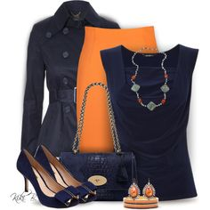 Navy & Orange by kiki-bi on Polyvore featuring polyvore fashion style Jane Norman By Malene Birger Mulberry Pearlz Ocean Nak Armstrong