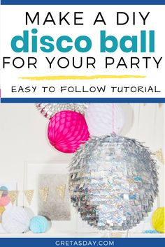 Make a fun DIY Disco ball for celebrating at home or impromptu dance parties. Learn how to make this tutorial that's great for kids age about 8 and up, with adult supervision, as well as a fun craft project for adults Amazing Crafts, Fun Crafts, Fun Diy, Easy Diy, Craft Projects For Adults, Dance Parties, Glitter Crafts, Party Needs, Disco Ball