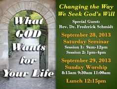 On Sept 28, FUMC Allen hosts a weekend spiritual seminar to help us change the way we seek God's will. Learn more on our website, fumcallen.org.