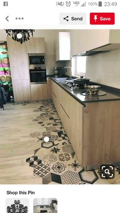 Home Renovation Ideas 19 Flooring Transitions From Wood to Tile - fancydecors - You should first ascertain where you would like the flooring. Tile flooring needs a mortar bed, which is no typical thickness. Kitchen Tiles, Kitchen Flooring, New Kitchen, Tile Flooring, Kitchen Wood, Floors, Kitchen Countertops, Kitchen Layout, Kitchen Appliances