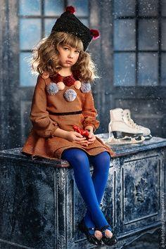 Dress for girl / Одежда для девочек, ручной работы. Ярмарка Мастеров - ручная работа. Купить Платье с помпонами. Handmade. Рыжий, шерстяное платье, помпоны