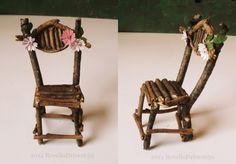 Fairy chair, pink flowers, big, dollhouse miniature 1/12. €7.50, via Etsy.