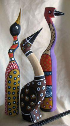 African Bird Sculptures Set of 3 Hand-Painted Wood from Zimbabwe