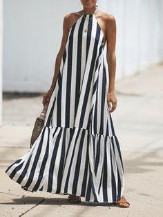 Halter Stripe Swing Mujeres sin mangas Casual Impreso Vestido de verano