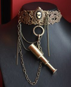 Steampunk choker real tiny telescope by pinkabsinthe on Etsy