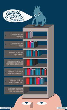 Viñeta sobre la biblioteca mental.