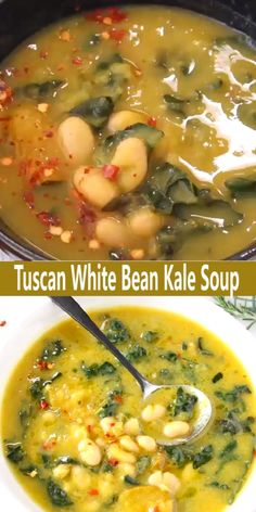 The best Tuscan White Bean Kale Soup recipe with winter squash, leeks, lacinato kale and creamy cannellini beans. Super easy to make, without meat, 100 vegan and gluten free! Kale Soup Recipes, Crockpot Recipes, Vegetarian Recipes, Cooking Recipes, Healthy Recipes, Vegetarian Soup, Dinner Recipes, Vegetable Soup Recipes, Noodle Recipes