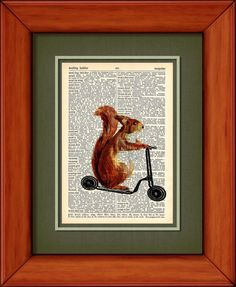 Dictionary Art Print  Scooter Squirrel  6 3/4 x 9 by PagesOfAges, $7.00