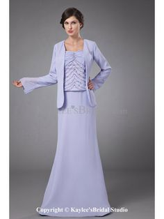 Chiffon Straps Floor Length Column Mother Of The Bride Dress with Ruffle