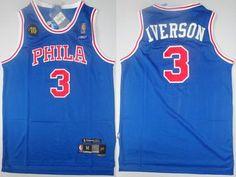 dec01ece9 ... Philadelphia 76ers 3 Allen Iverson Blue 10th Soul Swingman NBA Jerseys  ...