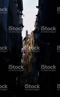 Streetscape of the Gothic Quarter in Barcelona, Spain Architecture Photo, Royalty Free Stock Photos, Barcelona, Spain, Urban, Movie Posters, Photography, Image, Film Poster