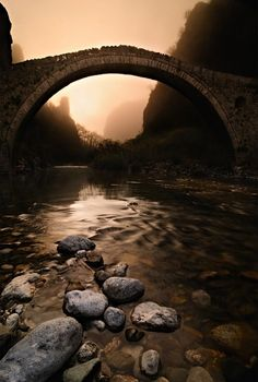 Mythical Esacpe that reminds me of lord of the rings Bridges to Babylon  ::       Misty morning at Kokorou's bridge    ( Epirus, Greece  Spring 2009 )  By justeline