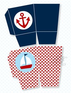 Blue & Red Nautical Baby Shower PRINTABLE Favor Box by Love The Day. $8.00, via Etsy.