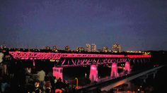 The High Level Bridge in downtown Edmonton, Alberta lit up the sky on Canada Day!