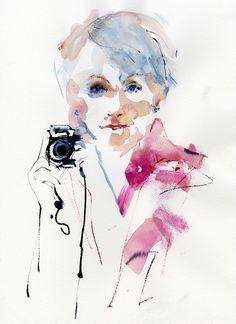 Watercolor portrait by Anne Watkins.