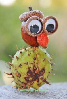 Min uglegøje af kastanjer, klik ind og se på den: http://agnesingersen.dk/blog/uglegoeje/ Kinderbastelideen Kastanien. kids crafts chestnut