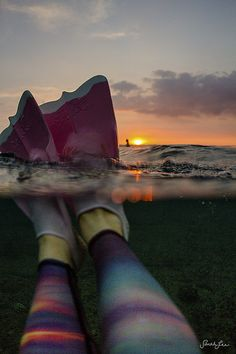 a few of my favourite things: sunset in the sea, pink dafins, and teeki sunset leggings.