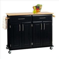 Create additional storage space in your kitchen with the attractive Home Styles Dolly Madison Rolling Island Cart in Black. Constructed from solid and engineered wood, this kitchen cart boasts a black painted finish with a protective lacquer. Small Portable Kitchen Island, Portable Island, Kitchen Island On Wheels, Black Kitchen Island, Kitchen Island Cart, Kitchen Tops, Kitchen Islands, Space Kitchen, Kitchen Stuff