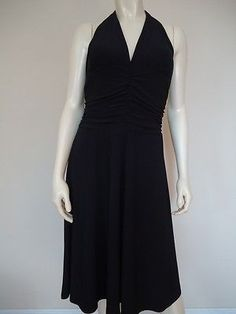 WHITE HOUSE BLACK MARKET Dress M Poly/Spandex Knit Halter Lined Padded SEXY!