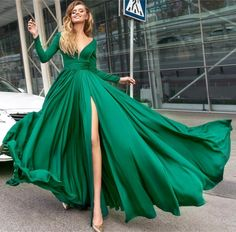 Sexy Deep V Neck Long Sleeves Prom Dresses 2018 Leg Split Evening Gowns