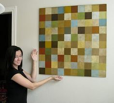 paint chip wall art-I could totally do this x5 with all of the chips I have collected for the kitchen!