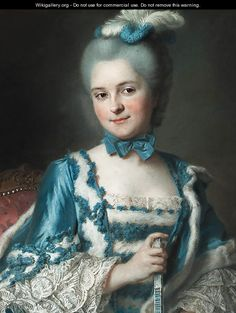Portrait of Madame Cailloux bust-length, wearing a blue dress and holding a fan, seated on a Louis XV chair - Maurice Quentin de La Tour c 1770