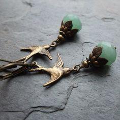 Green Aventurine Swallow Earrings Vintage Style Antique Brass on Etsy, 195:67kr