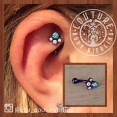 Fresh rook with a fantastic paw print cluster from @anatometalinc mint green and…