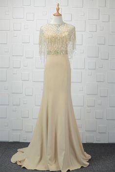 Elegant Long Mermaid Beaded Champagne Fringe Prom Evening Dress With Cape Winter Prom Dresses, Evening Dresses, Formal Dresses, Wedding Dresses, Orange Blush, Purple Grey, Platinum Grey, Cape Dress, Prom Dresses Online
